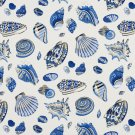 A201 Outdoor Indoor Marine Upholstery Fabric By The Yard| Assortment of Seashells - Blue and beige