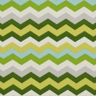 A208 Outdoor Indoor Upholstery Fabric By The Yard Chevron Flame Stitch - Green Yellow Grey Blue