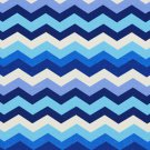 A209 Outdoor Indoor Upholstery Fabric By The Yard Contemporary Chevron Flame Stitch - Blue White