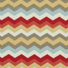 A211 Outdoor Indoor Upholstery Fabric By The Yard Chevron Flame Stitch - Red Blue Pink Gold Grey
