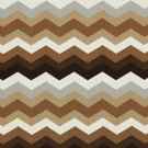 A212 Outdoor Indoor Marine Upholstery Fabric By The Yard| Chevron Flame Stitch - Brown Grey White