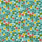 A218 Outdoor Indoor Marine Upholstery Fabric By The Yard| Square Boxes - Green, Teal, Yellow and Red
