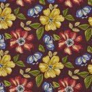 A219 Outdoor Indoor Marine Upholstery Fabric By The Yard| Flowers Leaves - Blue Red Yellow Green