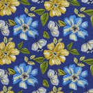 A220 Outdoor Indoor Marine Upholstery Fabric By The Yard| Flowers Leaves - Blue Green Yellow Grey