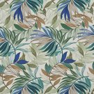 A239 Outdoor Indoor Marine Upholstery Fabric By The Yard  Various Vibrant Leaves - Teal Beige Green