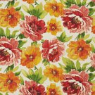 A258 Outdoor Indoor Marine Upholstery Fabric By The Yard| Large Flowers Leaves - Green Pink Orange