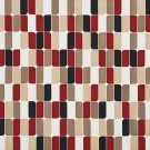 A275 Outdoor Indoor Upholstery Fabric By The Yard Contemporary Abstract Geometric - Red Black Beige