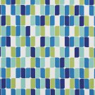 A276 Outdoor Upholstery Fabric By The Yard Contemporary Abstract Geometric - Teal Blue Green White