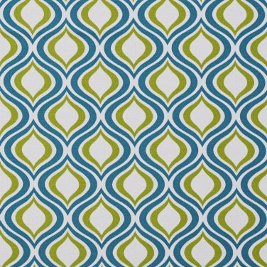 A277 Outdoor Indoor Upholstery Fabric By The Yard Contemporary Geometric Ovals - Teal Light Green