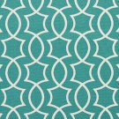 A279 Outdoor Upholstery Fabric By The Yard Contemporary Lattice Geometric Shapes - Teal White