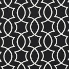 A280 Outdoor Indoor Upholstery Fabric By The Yard Intertwined lattice Geometric Shapes - Black White