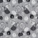 A374 Contemporary Black Silver Leaves Roses Tweed Textured Metallic Upholstery Fabric By The Yard