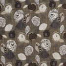 A380 Brown Silver Ivory Leaves Roses Tweed Textured Metallic Upholstery Fabric By The Yard
