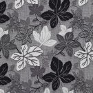 A390 Contemporary Black Silver Large Leaves Textured Metallic Upholstery Fabric By The Yard