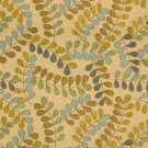 A040 Teal and Beige Leaves and vines Textured Matelasse Upholstery Fabric By The Yard