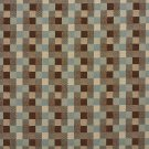 U0240D Brown And Teal Checkered Silk Satin Look Upholstery Fabric By The Yard
