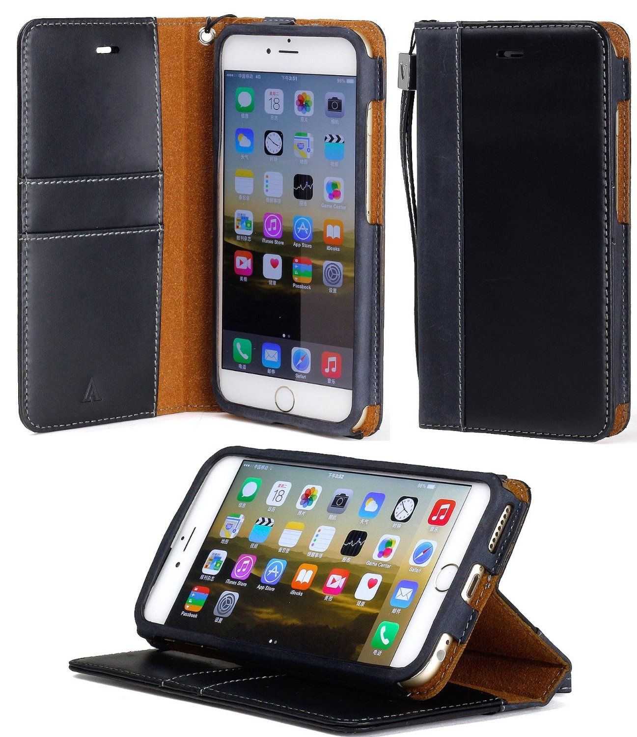 aceabove stand feature iphone 6 plus 5 5 wallet case new book cover case black. Black Bedroom Furniture Sets. Home Design Ideas
