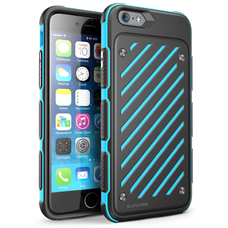 iphone 6 plus case supcase heavy duty dual layer hybrid blue black. Black Bedroom Furniture Sets. Home Design Ideas