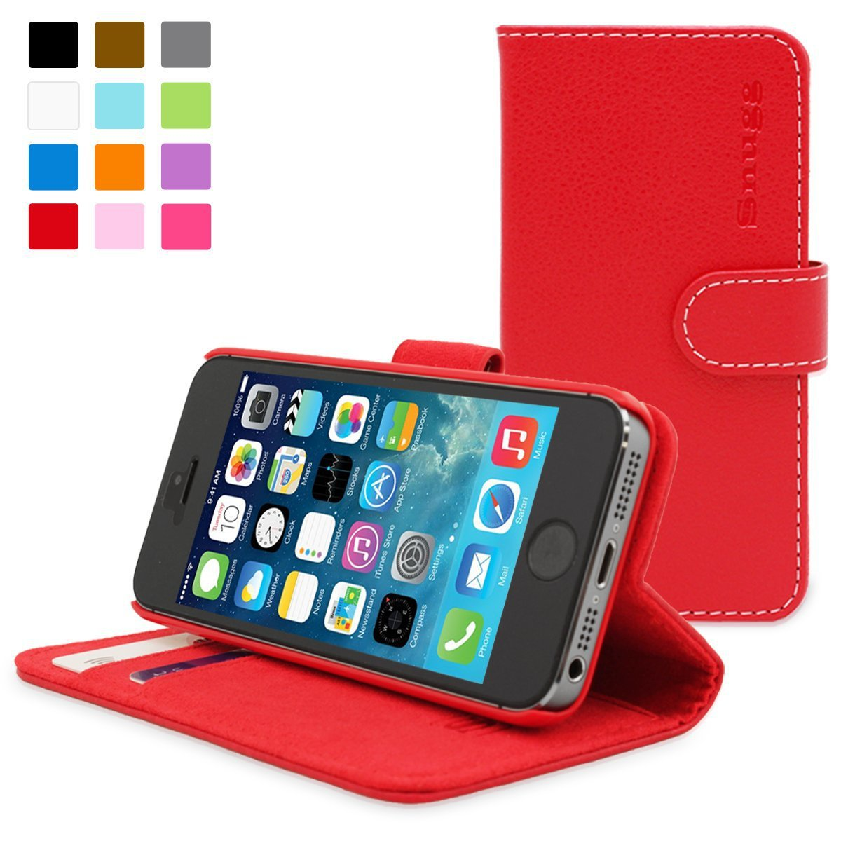 snugg iphone 5 5s case leather flip case with lifetime guarantee red for apple iphone 5 5s. Black Bedroom Furniture Sets. Home Design Ideas