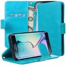 Flip Folio Full Body Protection with Stand Feature by E LV for Samsung Galaxy S6 Edge - TURQUOISE