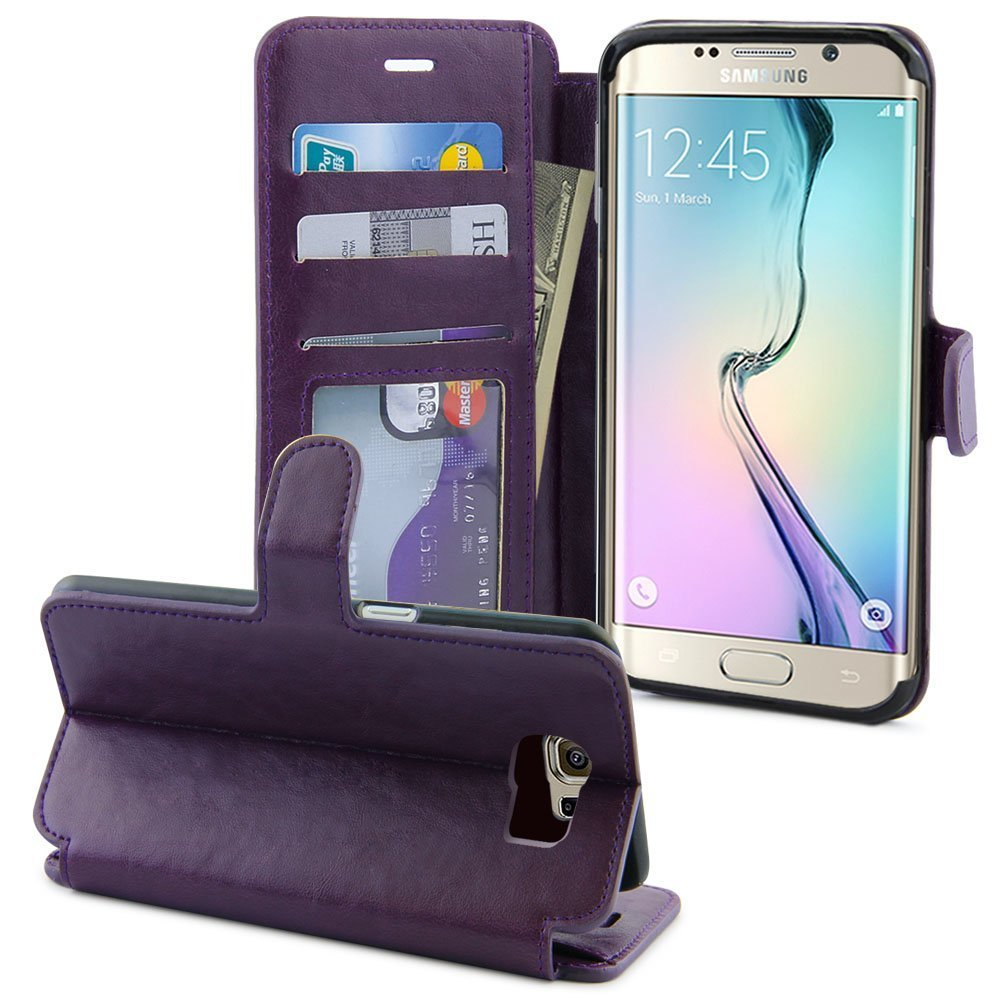 lk stand feature samsung galaxy s6 edge leather wallet series purple. Black Bedroom Furniture Sets. Home Design Ideas
