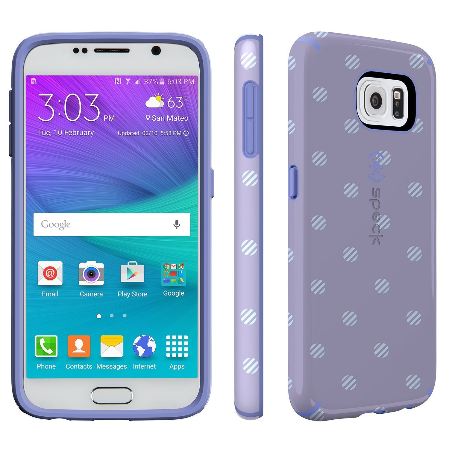 speck products candyshell inked for samsung galaxy s6 stripe polka heather wisteria purple. Black Bedroom Furniture Sets. Home Design Ideas