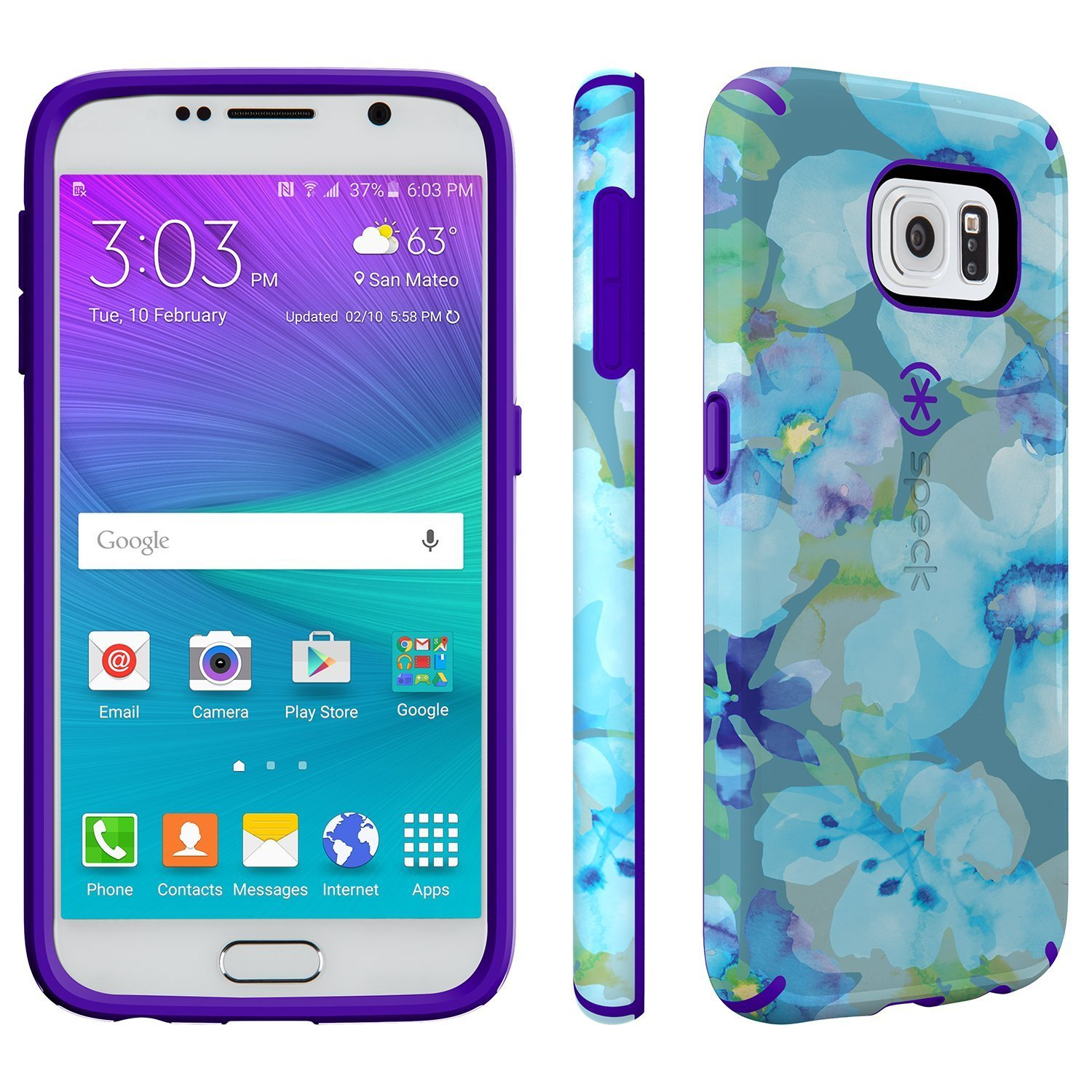 speck products candyshell inked case for samsung galaxy s6 aqua floral blue ultraviolet purple. Black Bedroom Furniture Sets. Home Design Ideas
