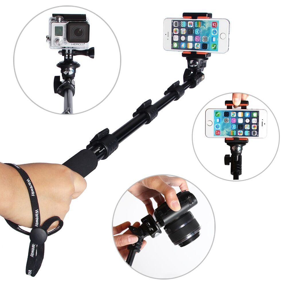 telescopic handheld professional monopod camera extender pole with tripod mou. Black Bedroom Furniture Sets. Home Design Ideas
