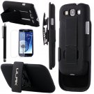 ULAK Hybrid Rugged Belt Clip Holster Combo Kick-Stand [black] for Samsung Galaxy S3 III i9300-black