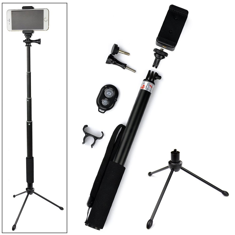ace3c rhythm pro selfie stick monopod mini tripod stand bluetooth remote shutter black ios android. Black Bedroom Furniture Sets. Home Design Ideas