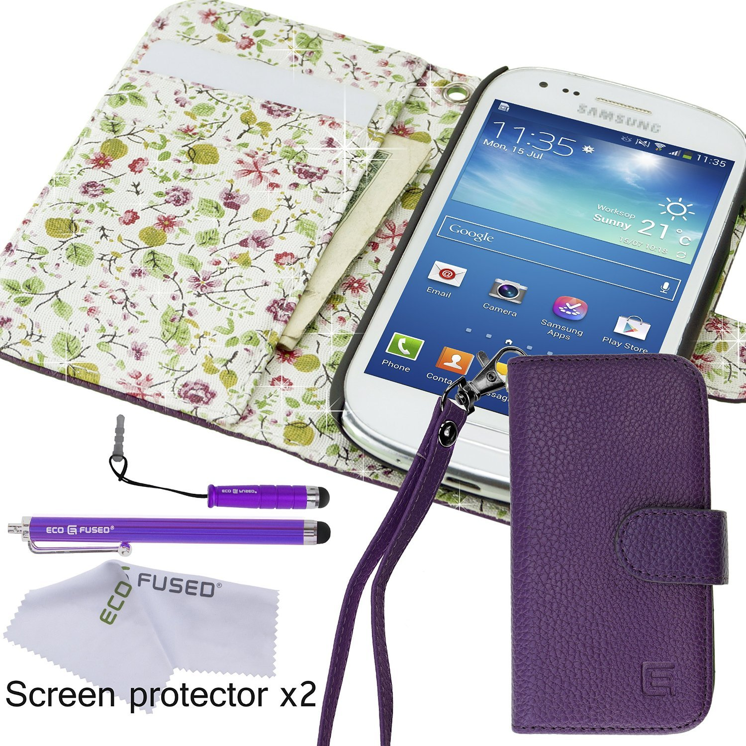 samsung galaxy s3 mini case bundle including 1 faux leather cover with floral interior purple. Black Bedroom Furniture Sets. Home Design Ideas