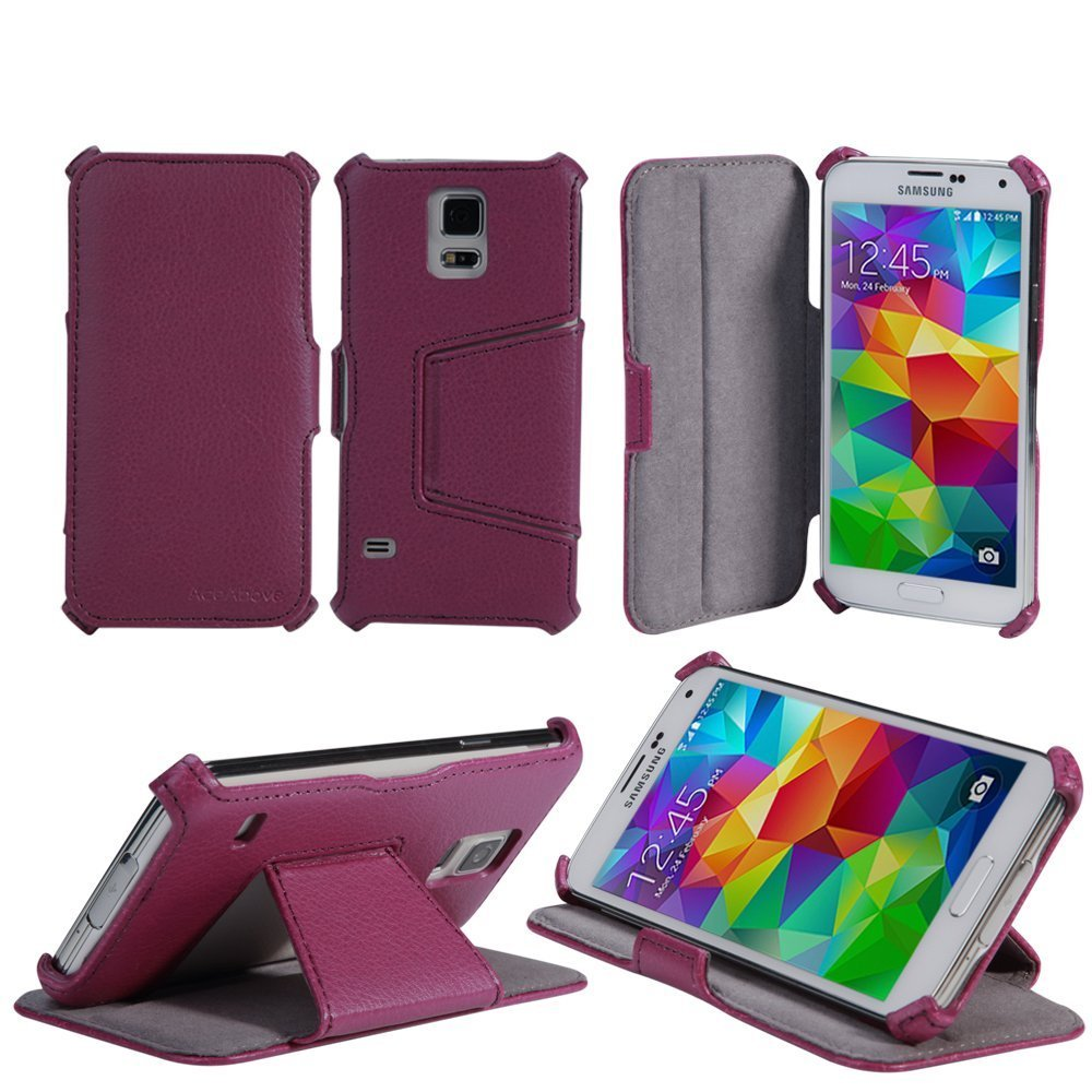 galaxy s5 case aceabove samsung galaxy s5 case protective stand purple leather case purple. Black Bedroom Furniture Sets. Home Design Ideas