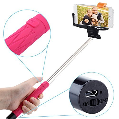 selfie stick urpower bluetooth monopod selfie stick self portrait pole pink. Black Bedroom Furniture Sets. Home Design Ideas