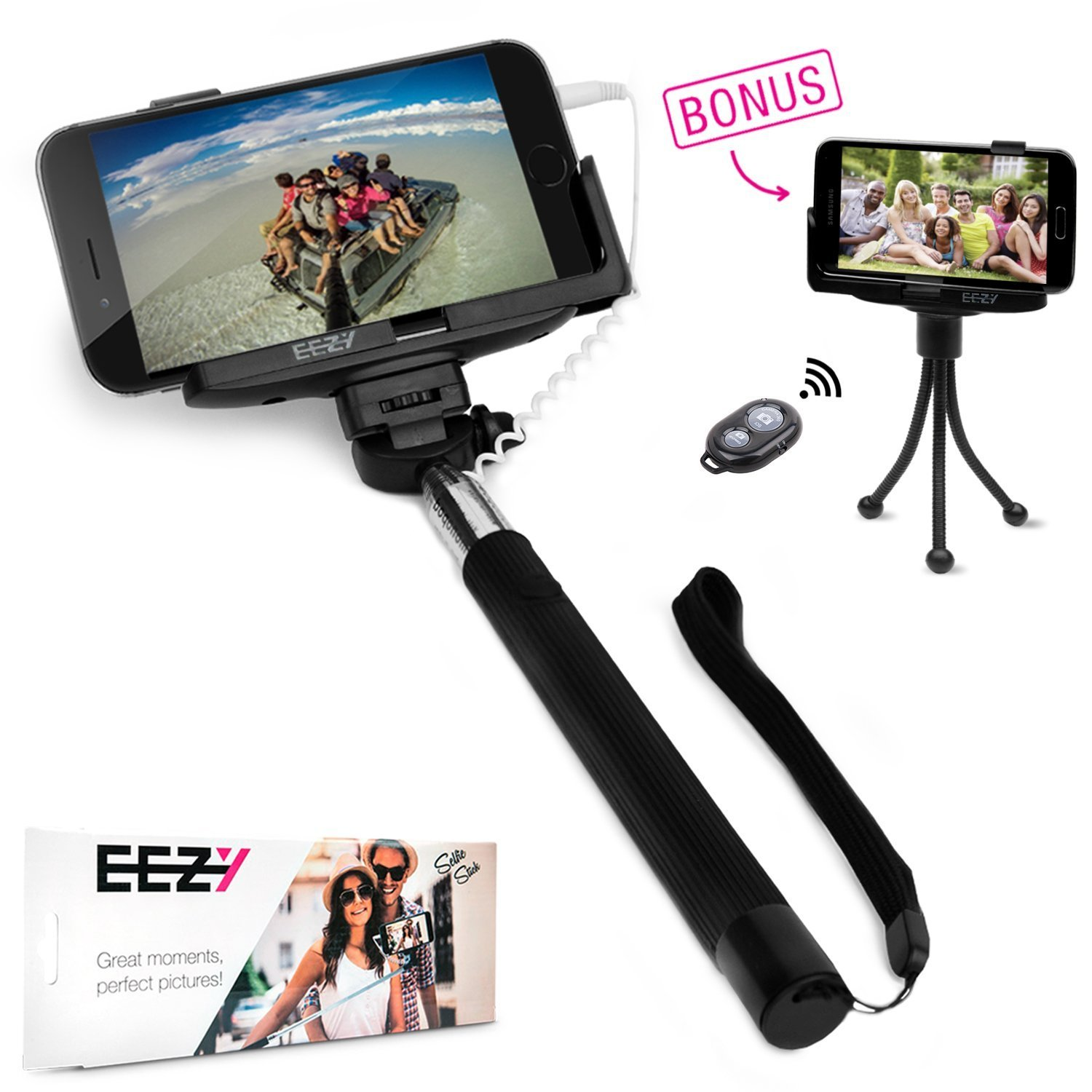 cell phone selfie stick tripod adapters selfie stick eez y quickshot pro 3 in 1 battery free. Black Bedroom Furniture Sets. Home Design Ideas