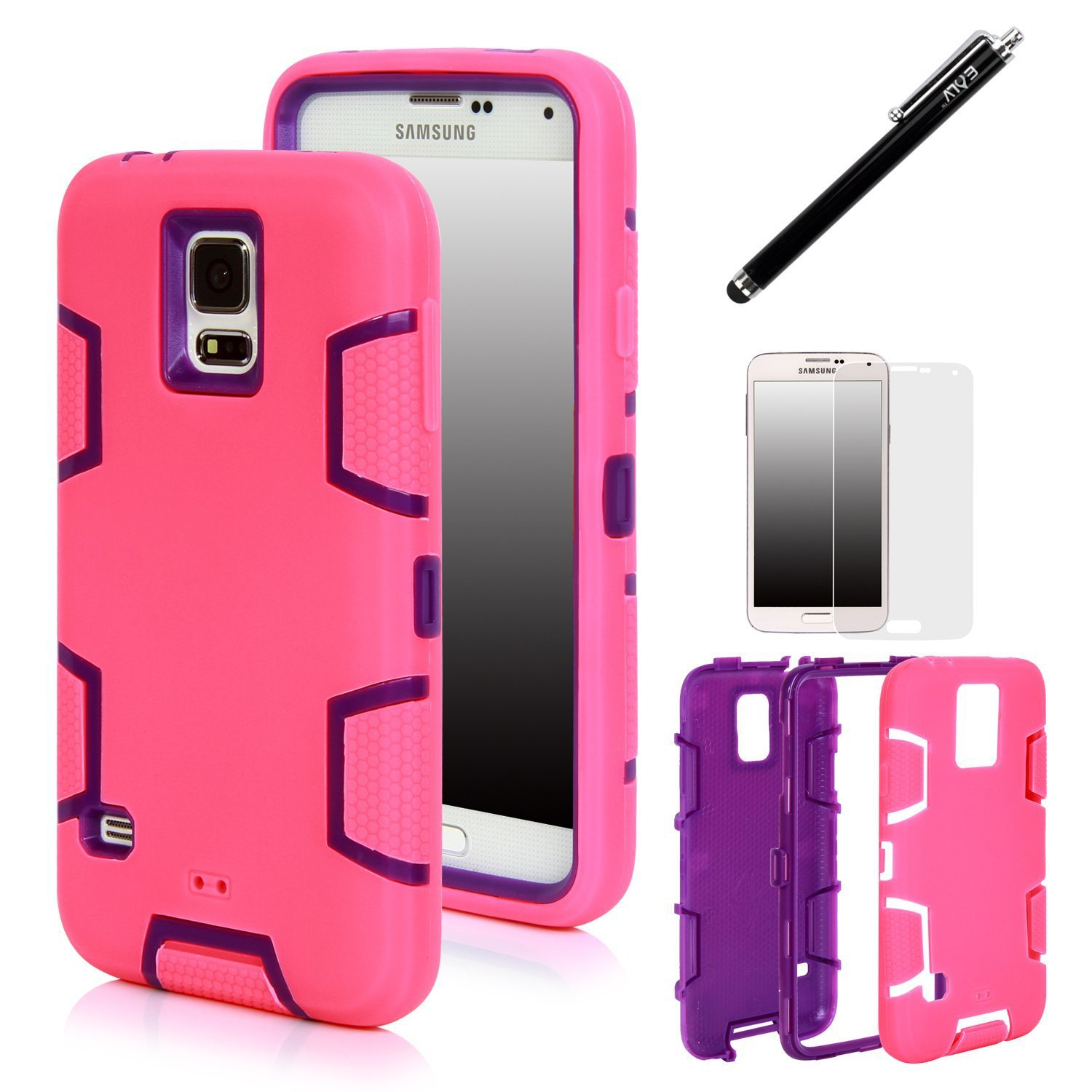 galaxy s5 galaxy s5 case e lv shock absorption high impact resistant hybrid hot pink purple. Black Bedroom Furniture Sets. Home Design Ideas