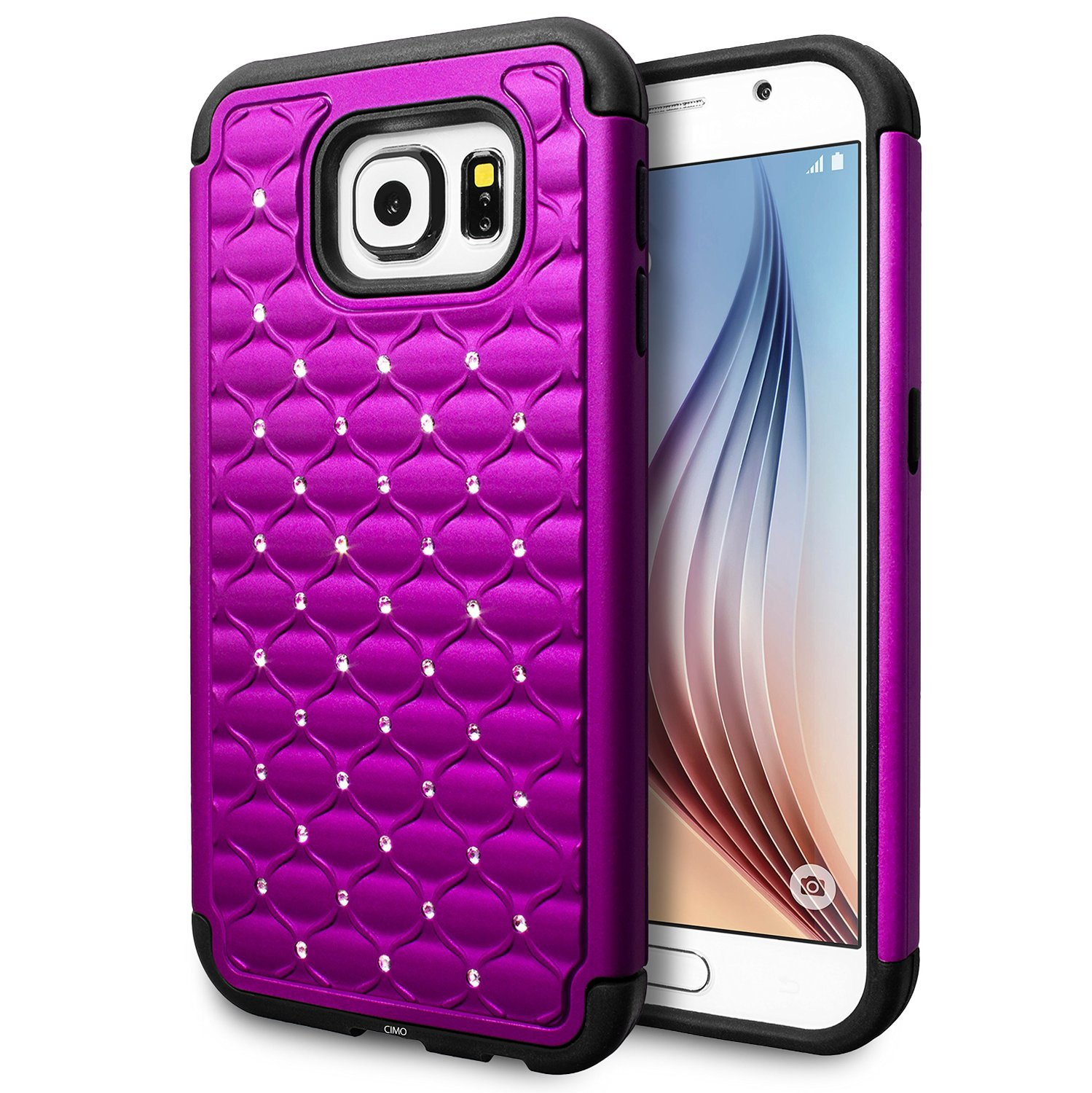 galaxy s6 case cimo shockproof heavy duty shock absorbing hybrid stud rhinestone purple. Black Bedroom Furniture Sets. Home Design Ideas