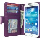Navor Samsung Galaxy S4 Folio Wallet Leather Case for Cards & Money Pockets(Purple)