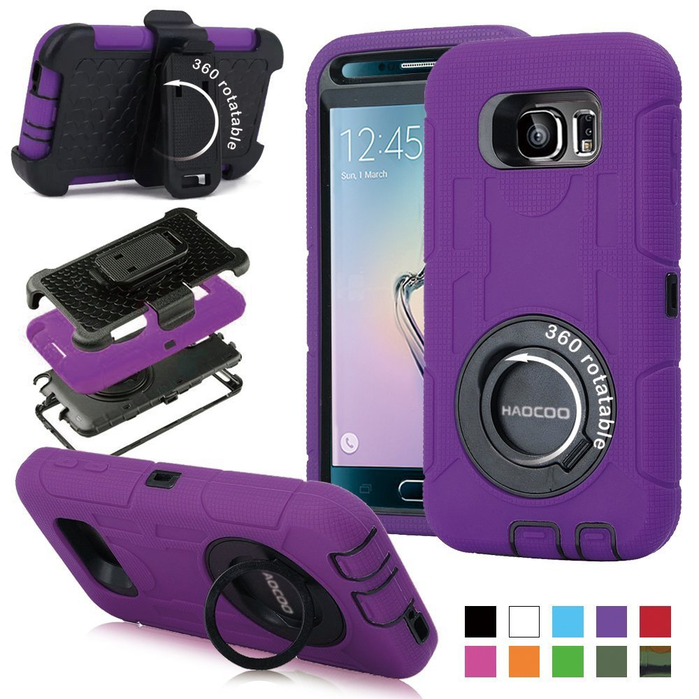 galaxy s6 case honeycase military extreme duty shockproof rugged hybrid armor case winner purple. Black Bedroom Furniture Sets. Home Design Ideas