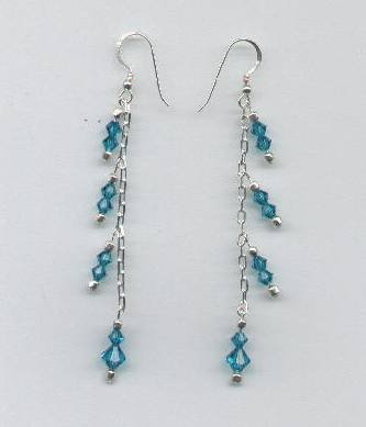 Swarovski Blue Zircon Crystals, Sterling Silver Chain