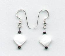 Swarovski Jet Crystal and Mother of Pearl Earrings