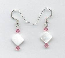 Swarovski Light Rose Crystal and Mother of Pearl Earrings