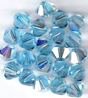 Swarovski Crystal 24 Aquamarine Aurora Borealis 4mm Bicones 5301
