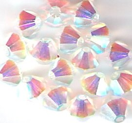 Swarovski Crystal 24 Crystal Aurora Borealis-2X 4mm Bicones 5301