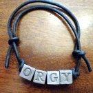 Handmade Leather Beaded Bracelet for the band 'Orgy'