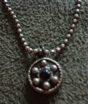 Vintage Estate Jewelry: Ball Chain Necklace With Round Gothic Style Pendant