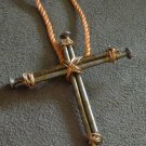 Gold Toned Nail Cross Necklace, Wire Wrapping