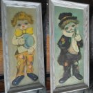 "Set of 2 Ozz Franca Clown Paintings ""Sad Big Eye Hobo Child Boy Clown"""