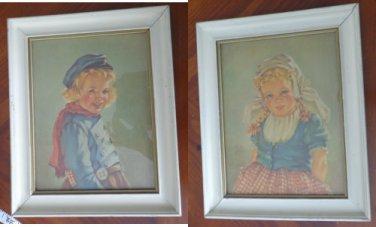 "Set of 2 Anne Allaben Framed Prints ""Katrina"" & ""Adrian"" EG Co Inc"