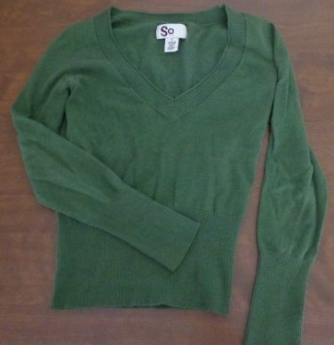 SO Social Occasions Green V-Neck Sweater Juniors Size S