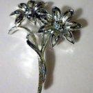 Vintage Toned Flower Brooch Pin